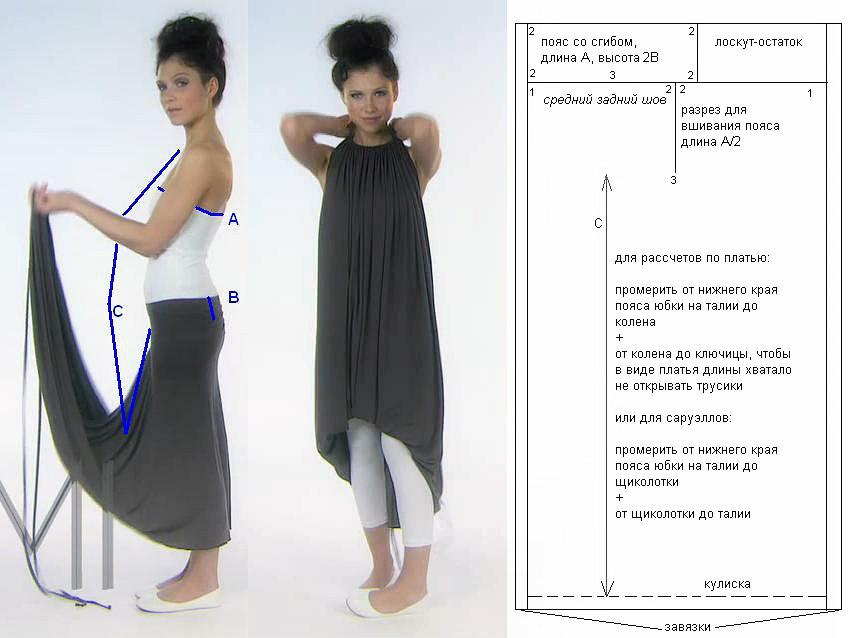 Выкройка платья трансформера EMAMI.