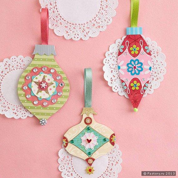 Новогодние игрушки из картона и цветной бумаги