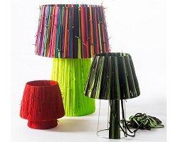 Яркая коллекция ламп из разноцветных шнурков