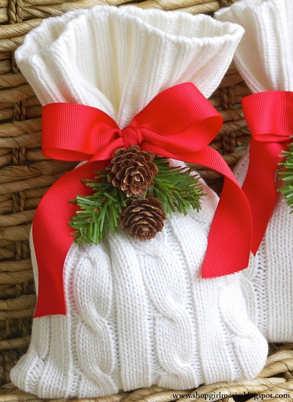 Новогодние мешочки для подарков своими руками фото