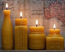 Handmade свечи в форме старинных бутылок