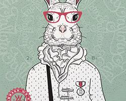 Постер Bucks Bunny gray green A2