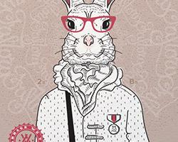 Постер Bucks Bunny gray rose A2
