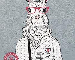 Постер Bucks Bunny gray blue A2