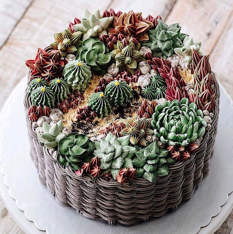 Кактусы и суккуленты из крема на тортах by Ivenoven