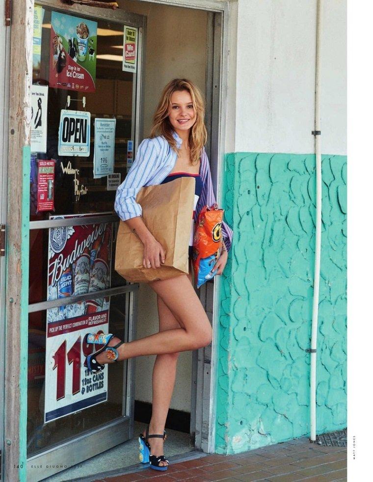 Лето в полоску - Paige Reifler на обложке Elle