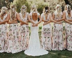 Цветочные принты для платьев подружек невесты – новый свадебный тренд
