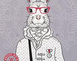 Постер Bucks Bunny gray violet А2