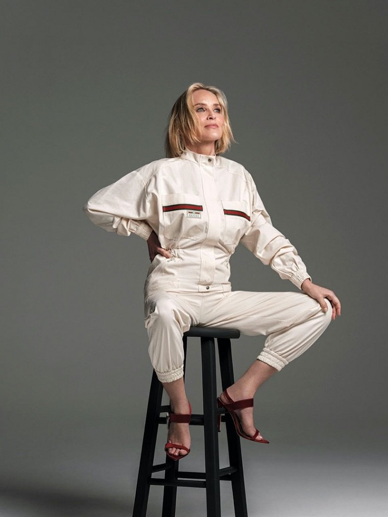 Прекрасная Шерон Стоун на обложке Harpers Bazaar