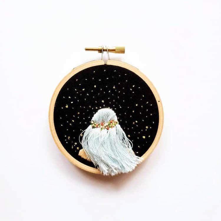 Необычная 3D-вышивка - портреты под звездным небом