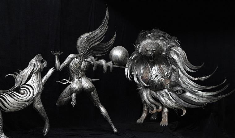 Грациозный скульптурный арт-проект из металла