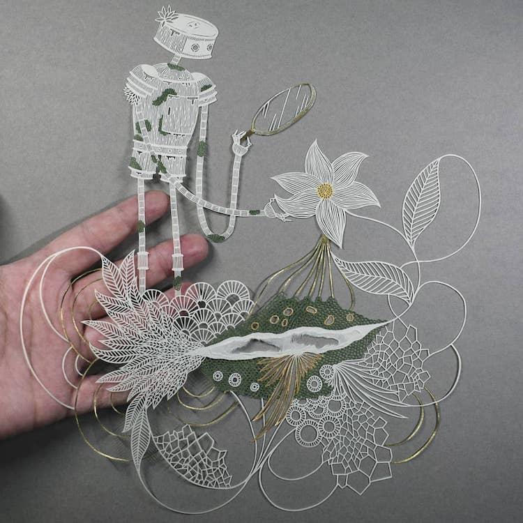 Произведения искусства из листа бумаги by Pippa Dyrlaga
